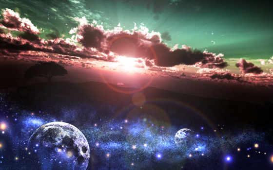 art, закат, sun, небо, звезды, дерево, anime, природа, oblaka, планеты, land,