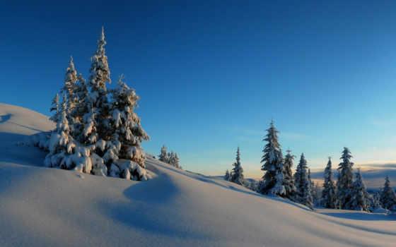 winter, снег, trees, file, this, зимой, hill, природа, небо, холмы,