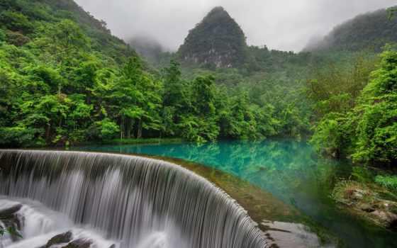 китаянка, природа, водопад, лес, горы, china, река, бамбук,