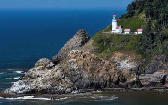 голова, heceta, lighthouse, сша, маяки, oregon, porthcawl, природа,