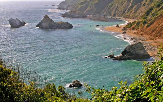 моря, море, trees, побережье, морское, природа, sur, дек, трава, камни,