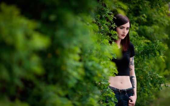 stunning, девушка, если, модель, женский, рисунка, татуировками, идея,