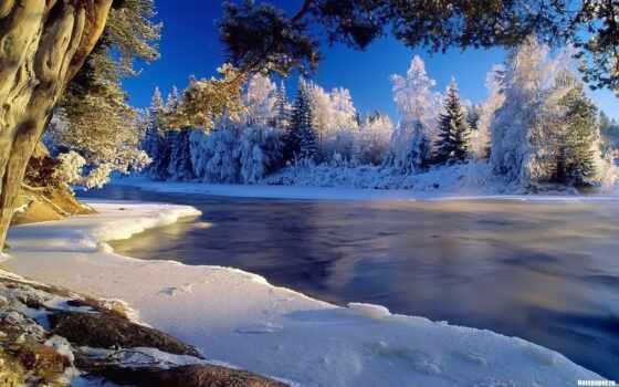priroda, красивый, zima, снег, отличный, voda, большой, les, зимний