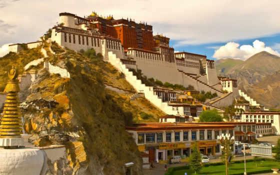 потала, дворец, тибет, tour, lhasa, далай, дворцы, замки, высоте, ламы, метров, крепости, балла, комплекс, храмовый, der, резиденцией, palaces, расположен, во, был, площадь, china,
