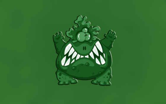 зубастый, зелёный, монстр, трехглазый, бородавочный, злой, картинка, seeman,