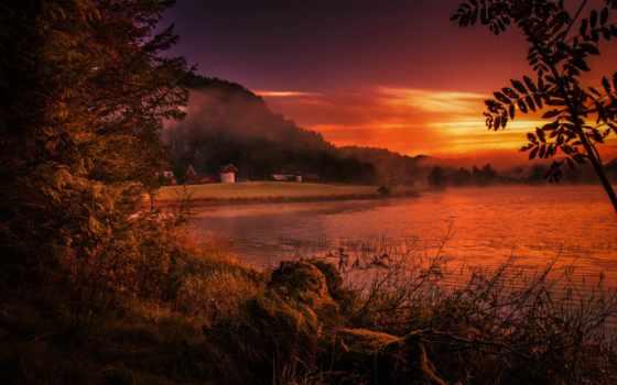 норвегия, desktop, закат