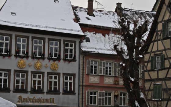 крыши, город, дома