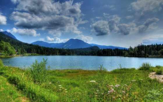горы, бавария, германия, природа, landscape, реки, озера, трава, картинка,