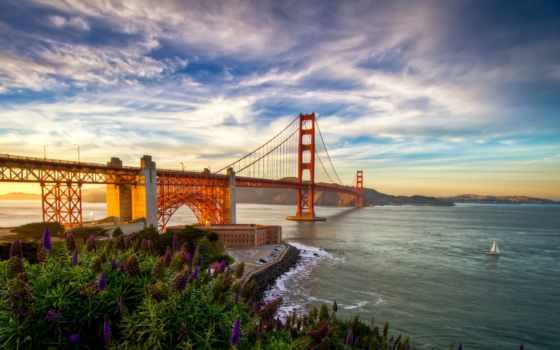 мост, море, landscape