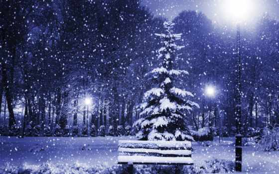 winter, природа, снег, time, года, ёль, скамейка, картинка, страница, снежинки,