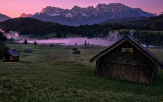 гора, рассвет, mountains