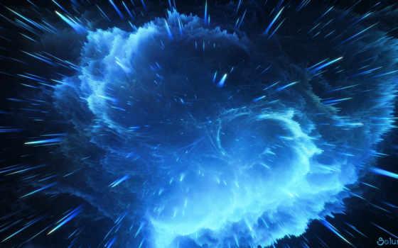 взрыв, blue, nebula, космос,