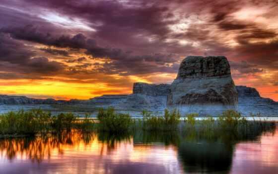 закат, природа, drawing, сток, arizona, scenery, небо, anime, гора, восход