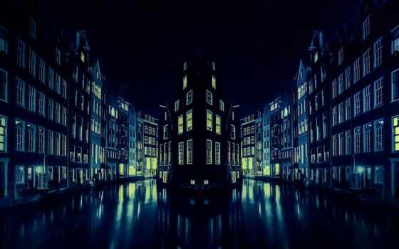 плоский, город, ночь, озеро, храм, огонь, dresden, amsterdam, cooky, река