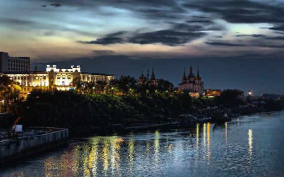 тюмень, набережная, ночь, закат, город, огни, река, картинка,