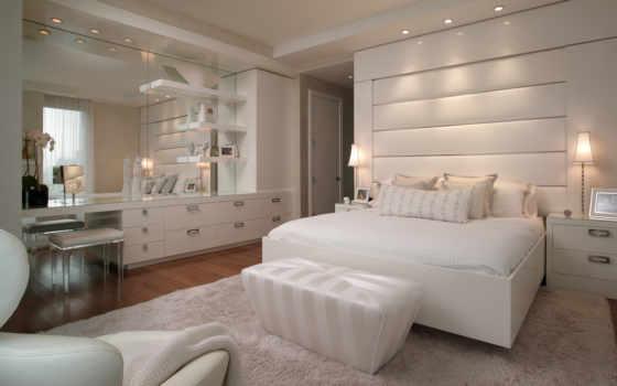 , кровать, белое, white, спальня, обивка,