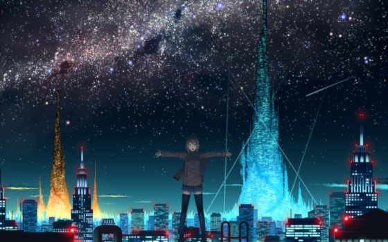 anime, девушка, ночь