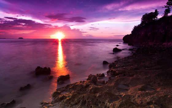 море, naplemente, tengerpart