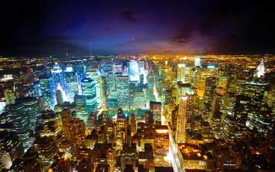 взгляд, нью, ночь, york, огни, won,
