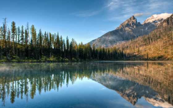 озеро, string, grand, teton, national, reflections, гора, park, colby, природа,