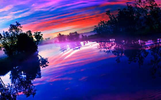 закат, небо, озеро, desktop, pantalla, amaneceres, sunsets, сол,