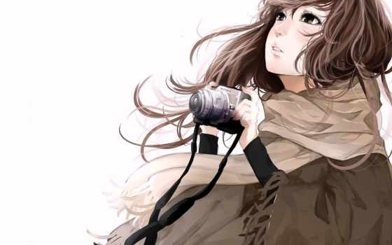 девушка, anime, white, фотоаппарат, art, фотоаппаратом, devushki, красивые, фотиком, осенью, взгляд,