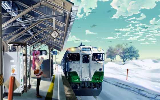 поезд, anime, станция, winter, abandoned, снег, japanese,
