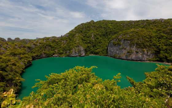озеро, природа, emerald, crater, самуи, ко, thai, картинку,