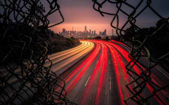 traffic, san, francisco, ночь, highway