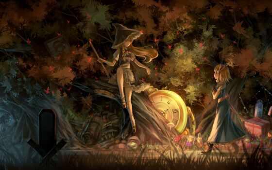anime, anim, fore, witch, fantasy, art, kirisame, game, шляпа, marisa, ночь