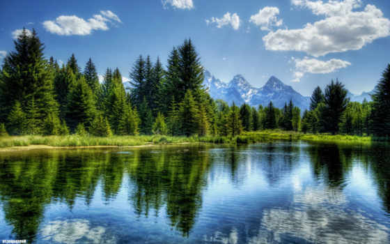 пейзаж, горы лес озеро
