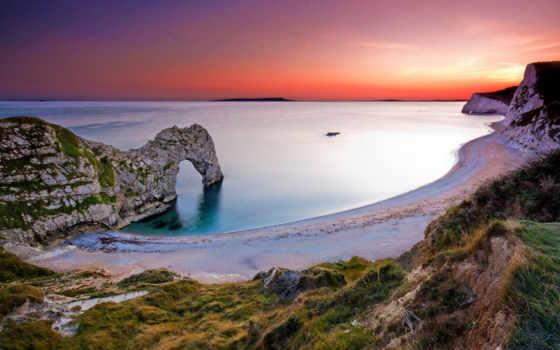 великобритания, great, песок, priroda, англия, берег, арки, пейзажи, солнце, desktop, трава, вечер, камни, берегу,