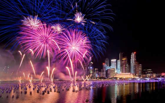 салют, fireworks, праздники, город, ночь,