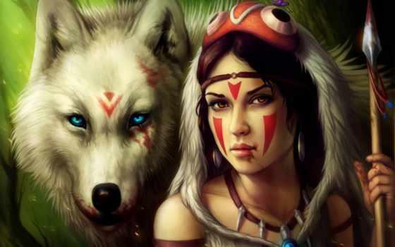 девушка, волк, кровь