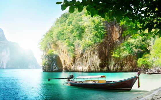море, небо, таиланд, фотообои, пхукет, острова, лодка,