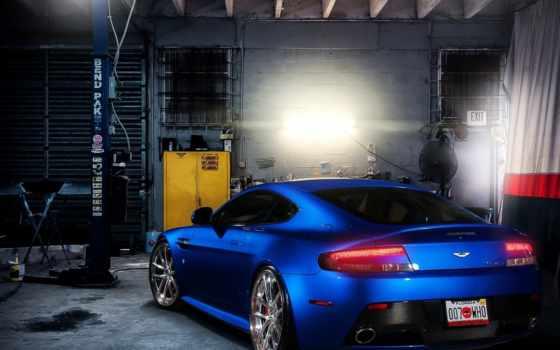 гараж, авто, машины, автомобили, ston, martin, синяя,