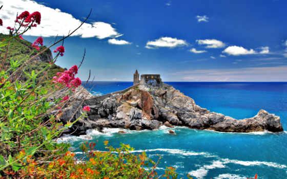 italian, italy, море, terre, cinque, house, цветы, небо, oblaka, скалы, природа,