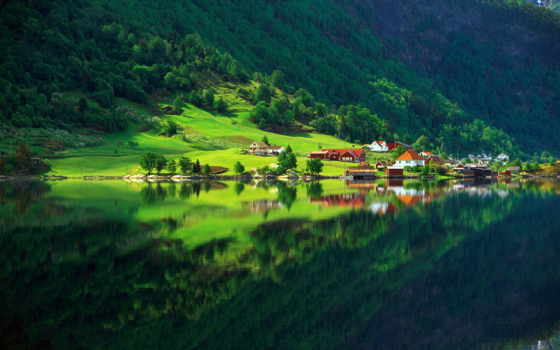 природа, озеро, лес, деревня, дома, зелёный, summer, горы,