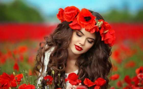 маки, поле, девушка, summer, hairstyle, шатенка, макияж, cvety, боке, красные, картинка,