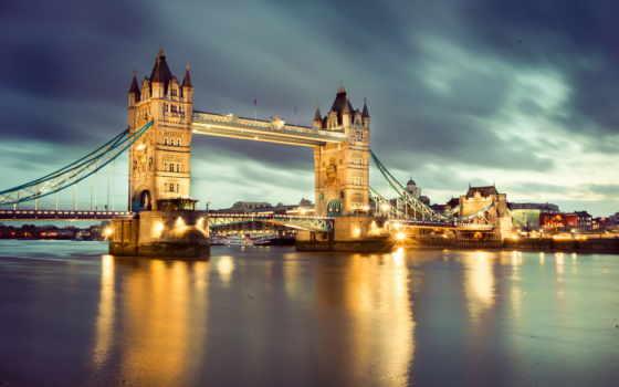 london, англия, великобритания, thames, ночь, мост, река, башня, ук,