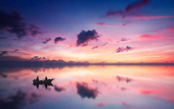 лодка, закат, ocean, природа, water, силуэт, рыбак, dusk, отлично, available