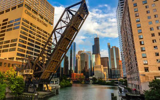 chicago, город, река Фон № 149478 разрешение 1920x1200