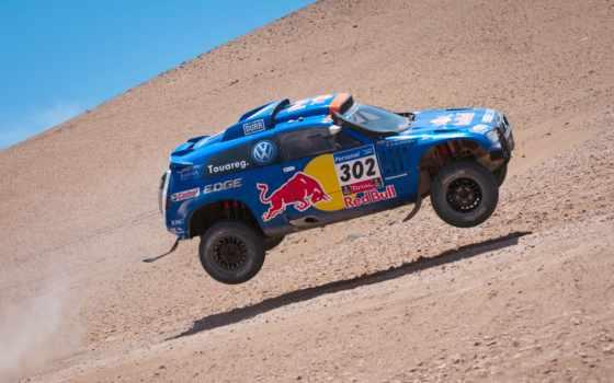 volkswagen, touareg, dakar, rally, blue, туарег, red, воздухе, bull,