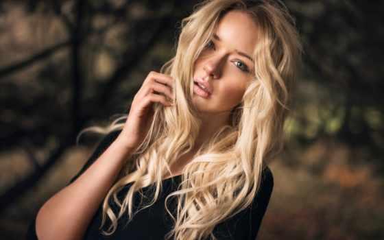 blonde, девушка, волосы, взгляд, длинные, модель, свет, голубые, лицо, волосами,
