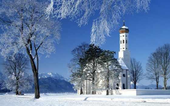 winter, снег, church, храм, горы, церкви,