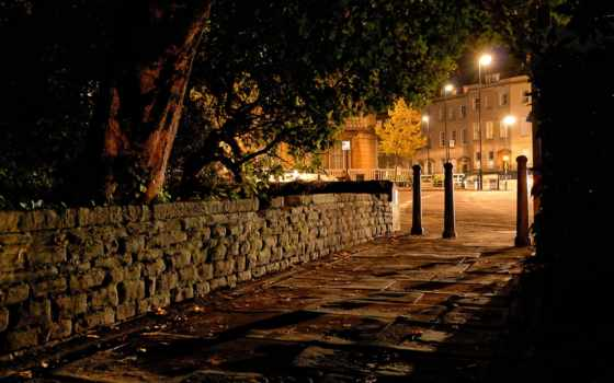 ночь, улица, фонари, город, города, тротуар, улицы, bristol, ук, clifton, german,