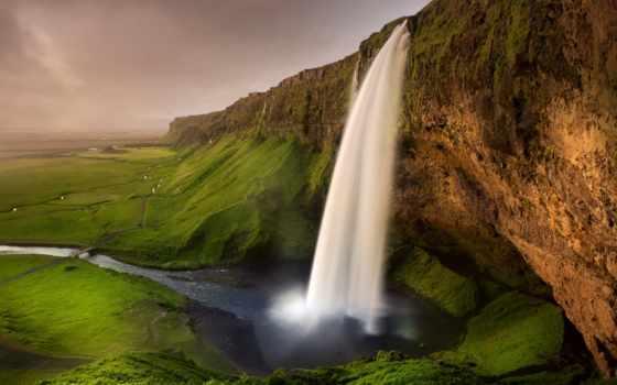iceland, водопады, природа, картинка, водопад, семейного, горы, просмотра, seljalandsfoss,