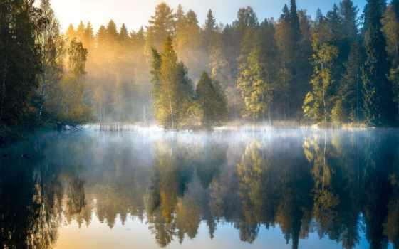 , рассвет, туман, озеро, финляндия,