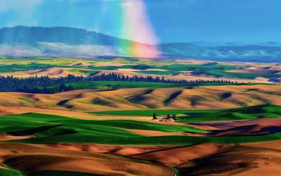 радуга, дождя, после, пустыня, холмы, со,