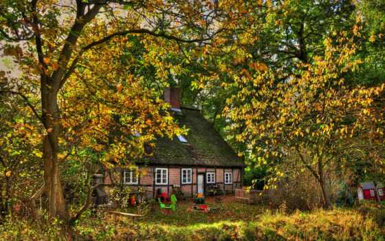 осень, камин, house, trees, листва, дерево, скамейка, thatch, площадь